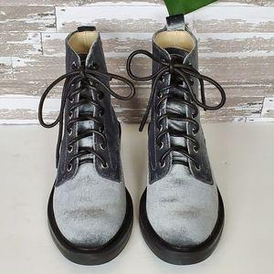 Dolce Vita Silver Velvet Moto Boots